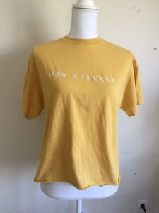 3198a682b72fdc Image is loading brandy-melville-yellow-crewneck-Aleena-Los-Angeles -EMBROIDERY-