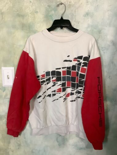 Vintage 80's Men's Porsche Red and White Geometric