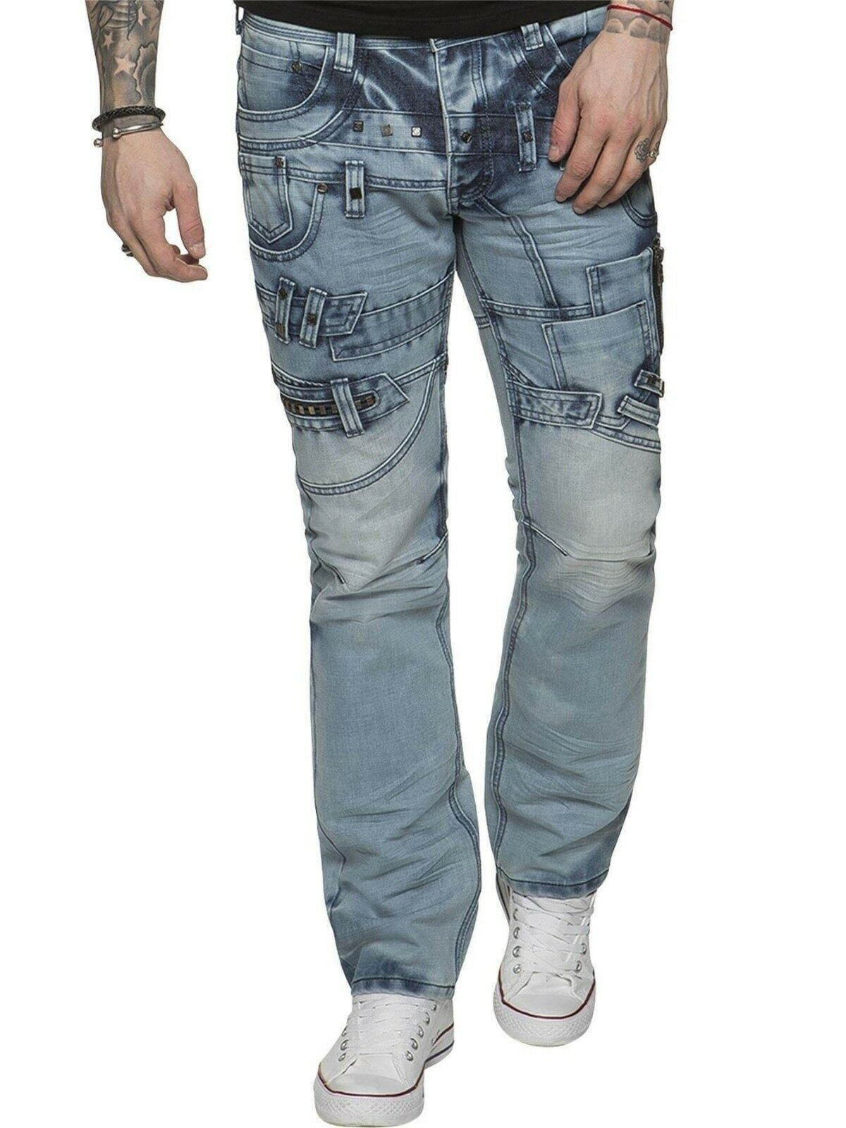 Eto Quality bluee Acid Stonewashed Studs Casual Jeans Regular Fit Tapered RRP