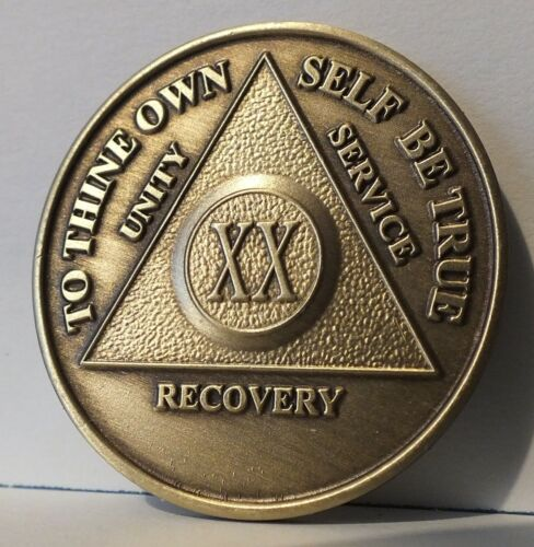 Alcoholic 20 Year Recovery 20 Yr Chip Medallion Coin Medal Token  AA Anonymous