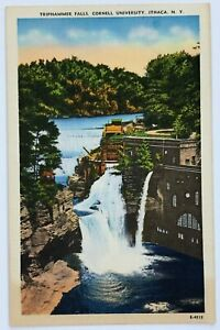 Postcard-Ithaca-NY-Triphammer-Falls-Cornell-University-Bird-039-s-Eye-View-New-York