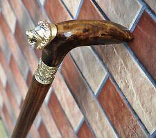 LION Canes Walking Sticks Wooden BURL Handmade Men's Accessories Cane  NEW