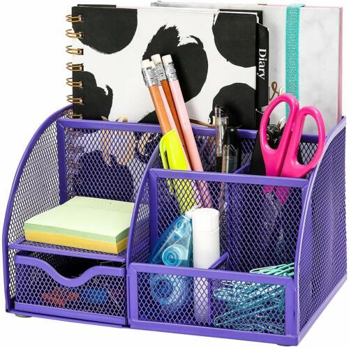 Purple EXERZ Mesh Desk Organizer//Pen Holder//Multifunctional Organizer