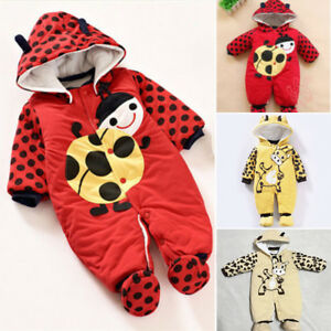0d4e03e3f Baby Winter Snowsuit Cotton Hoodie Jumpsuit Outwear Animal Print ...