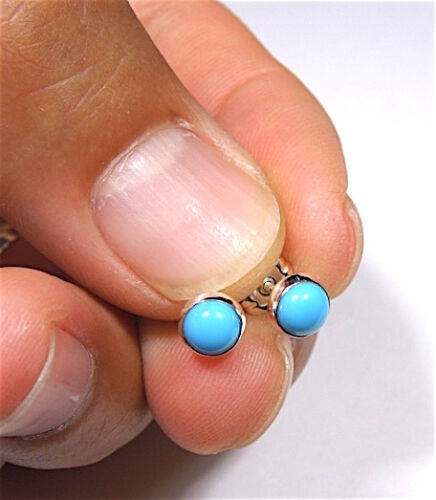 5mm Round Blue Sleeping Beauty Turquoise 925 Sterling Silver Stud Earrings