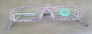FULL-PiNK-AB-AUSTRIAN-CRYSTAL-READING-GLASSES-1-50-SILVER-ARMS