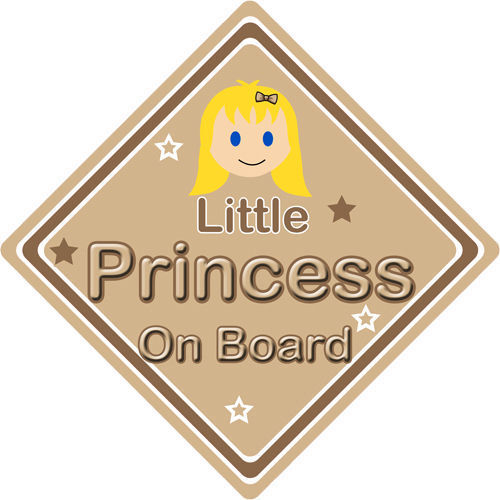 Non personnalisé enfant//bébé à bord voiture signe ~ little princess on board ~ blonde