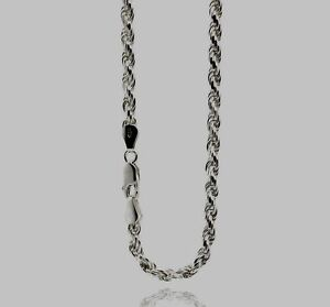 ROPE080/925 STERLING SILVER CHAIN / ROPE DESIGN / 24 INCH LONG /LOBSTER LOCK