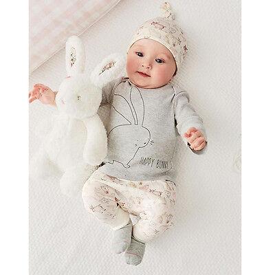3pcs Newborn Infant Kids Baby Boy Girl T-shirt Tops+Pants+Hat Outfit Clothes Set