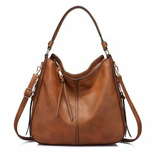 Large Hobo Handbags Designer Leather Purse Shoulder Vintage Bucket Bag Brown 1pc