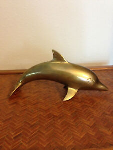 Vintage-Large-Brass-Dolphin-Figurine-Paperweight-8-034-Beach-house-decor
