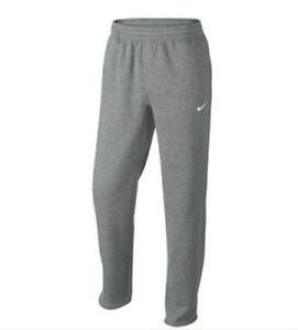 Nike Men s CLUB OPEN HEM FLEECE SWEATPANTS Dark Grey Heather 611458 ... 5ac91a06a