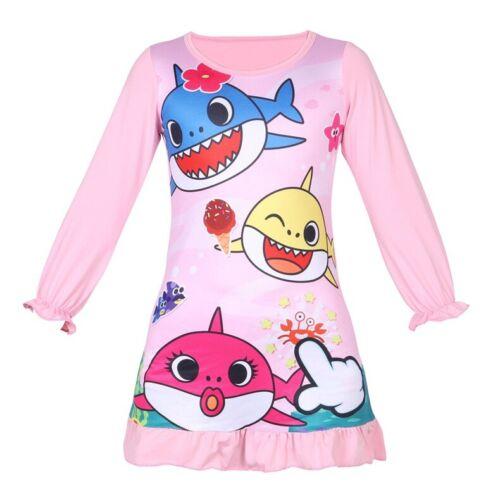 Baby Shark Print Tracksuit Kids Girls Nightdress Long Sleeve Pajamas Nightwear