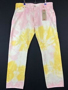 Levis-501-039-93-Straight-Tie-Dye-Jeans-Men-039-s-SZ-34x32-Button-Fly-White-Yellow-Pink