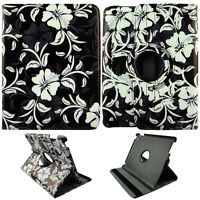 For White Flower on Blk  iPad 2 / 3 / 4 360 Rotating PU Leather Case Cover AM