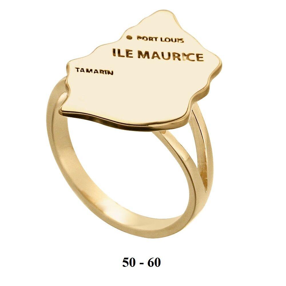 Dolly-Bijoux Bague T58 Carte Pays île Maurice 20mm Plaqué Or 18K Découpe Laser