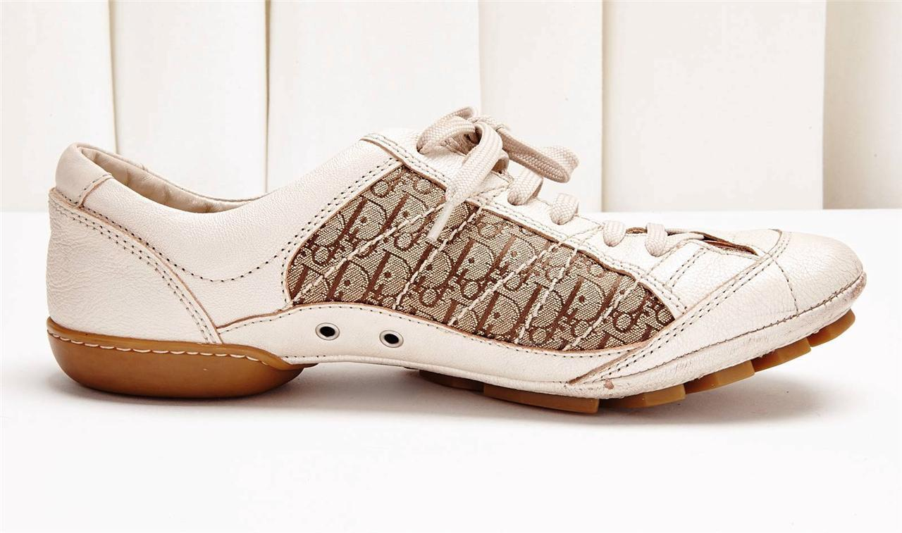 CHRISTIAN DIOR Brown and Cream Pelle Logo Canvas Lace Up  Shoe 9-39