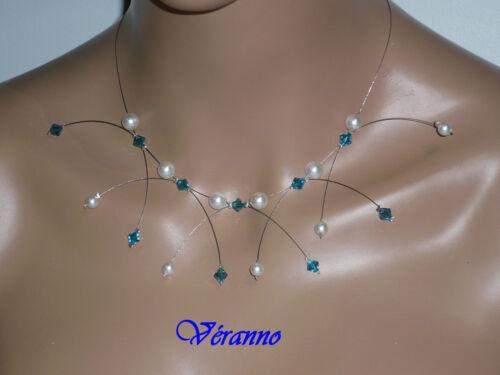 Collier étincelle blanc et bleu n°1 collier mariage.