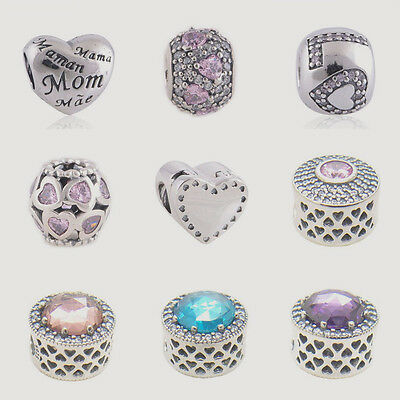 Radiant Hearts W CZ Love MOM Gift from the Heart 925 Sterling Silver Charms