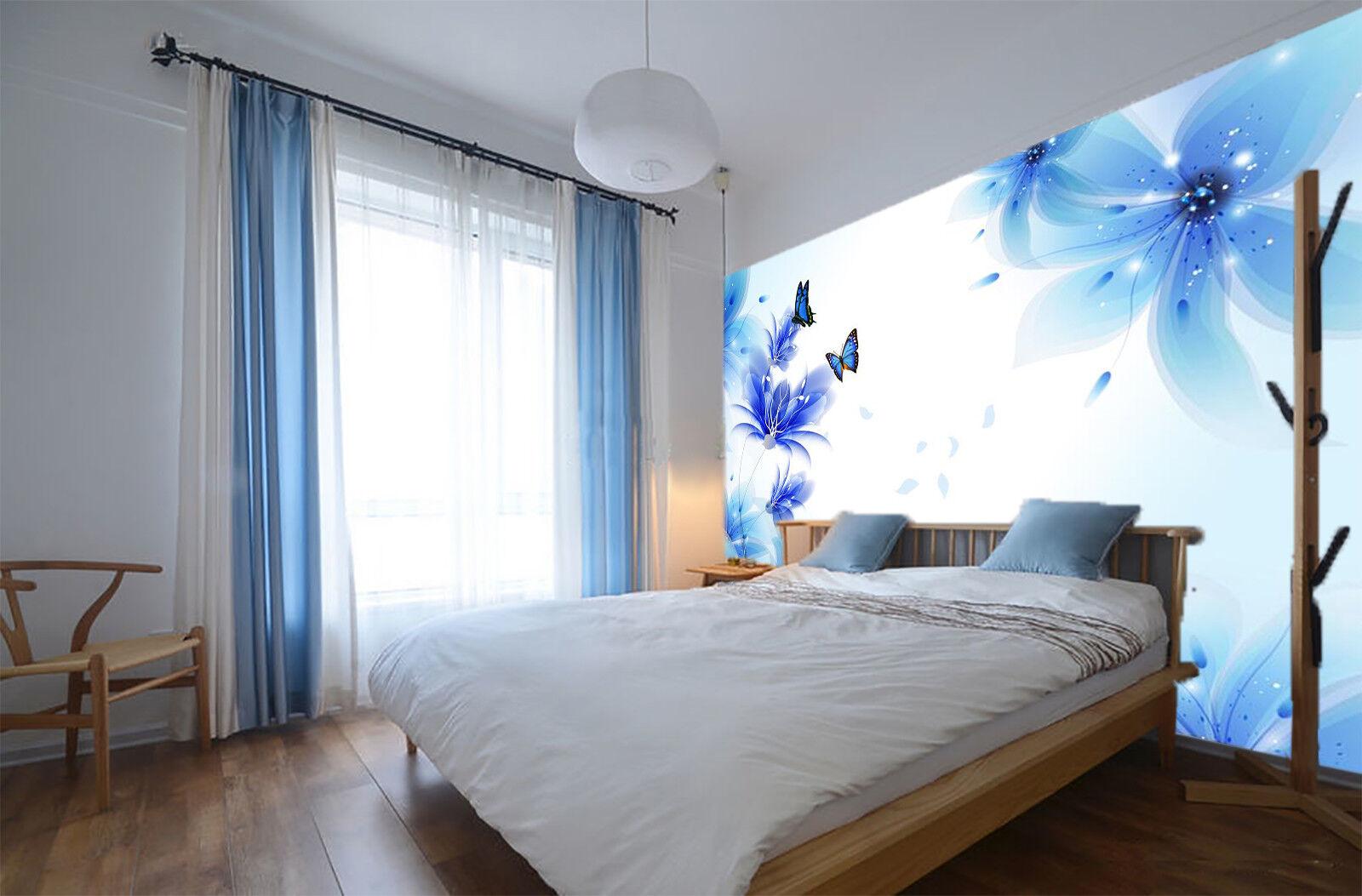 3D bluee Style Flower 8 Wall Paper Murals Wall Print Wall Wallpaper Mural AU Kyra