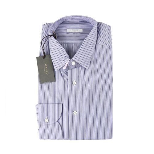 $275 NWT BOGLIOLI Blue Shadowstripe Extrafine Cotton Dress Shirt 40 M 15 3//4