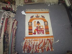 NWT NEW Russian Folk Art Kilim Hand Knotted Wool Tapestry 2'-1 x 1'-9 Ivory