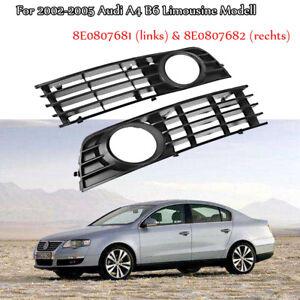 Stossstange-Gitter-Nebelscheinwerfer-Blende-Abdeckung-fuer-Audi-A4-B6-2002-2005
