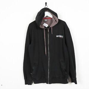 Vintage-UMBRO-Small-Logo-Zip-Up-Hoodie-Sweatshirt-Black-Large-L