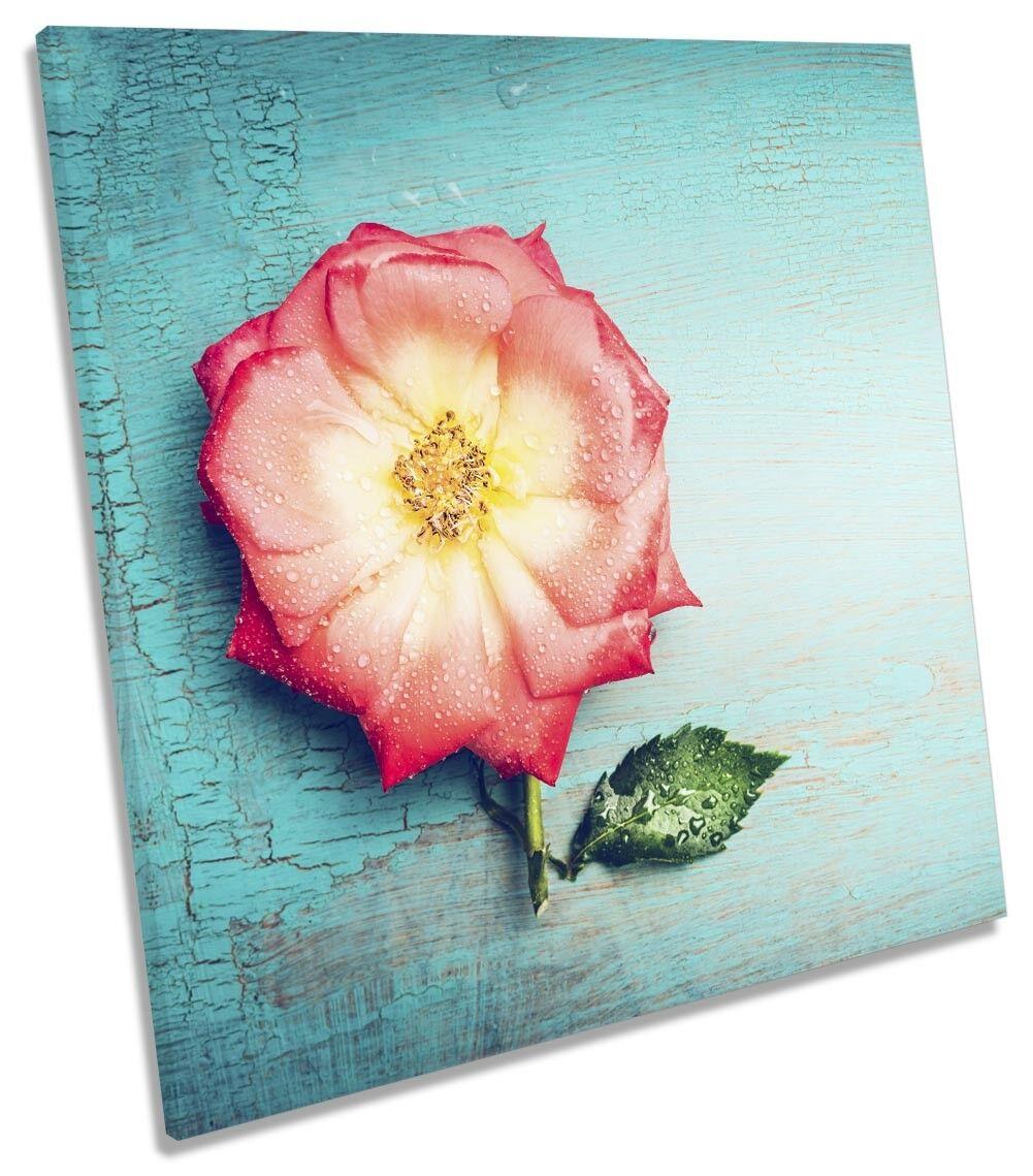 Blau Flower Floral Picture CANVAS WALL ART Square Print