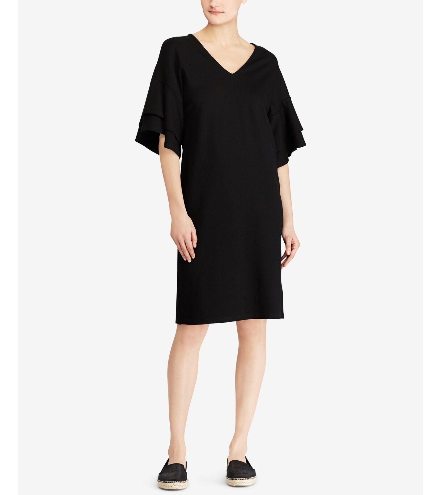 Ralph Lauren (JN9258-60)Flutter-Sleeve Viscose Blend Ponte Dress schwarz Sz M