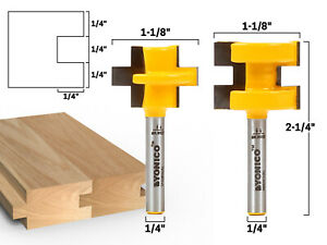 """3/4"""" 2 Bit Tongue and Groove Router Bit Set - 1/4"""" Shank - Yonico 15226q"""