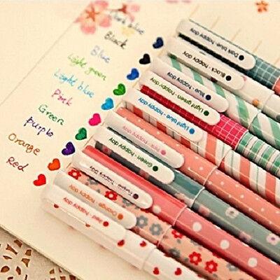 Hot 10PCS Korean Lovely Fresh Happy Day Neutral Pen Gel Pen 10 Colors-0.38mm