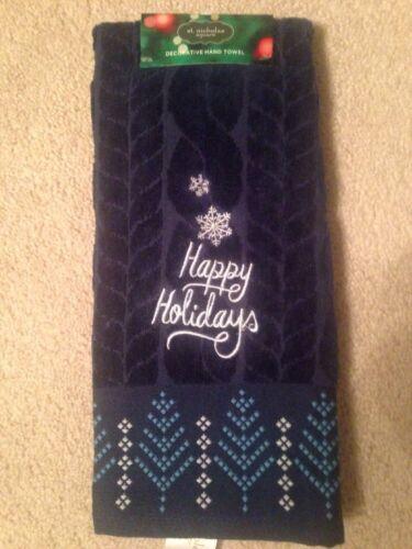 "St Nicholas Square /""Happy Holidays/"" Christmas Thirsty Bath Hand Towel; Navy"