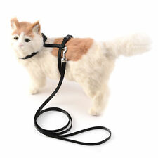 Cat Walking Lead Dog Leash Adjustable Harness Collar Pet Kitten Puppy - Black