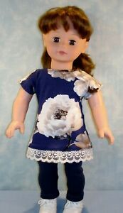 18-034-Doll-Clothes-Navy-Floral-Top-amp-Navy-Leggings-made-by-Jane-Ellen