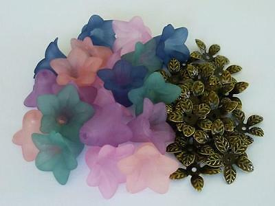 Acrylic Bell Flower Beads with Antique Bronze Leaf Bead Caps 40 pieces