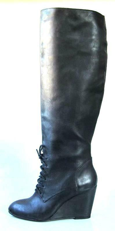 Sexy NIB STEVE MADDEN Luxe black leather TALL wedge BOOTS