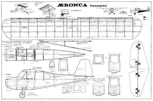 MODELHOB AERONCA CHAMPION CONTROL LINE MODEL PLANS FOR 2.5CC MOTOR