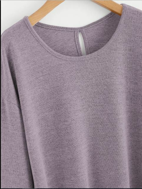 Knit Tee Lavender Long Sleeves Size S, M, L Over Sized