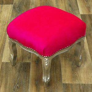 Silber-Design-Sgabello-Imbottito-Shocking-Pink-Poggiapiedi-Barocco-Pink-Sitzpuff