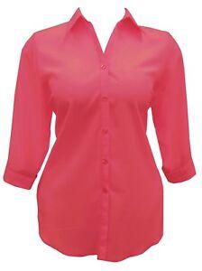 Womens-16-24-New-Red-en-Shirt-Blouse-Top-3-4-Sleeve-Girls-Ladies-Plus-Size-UK