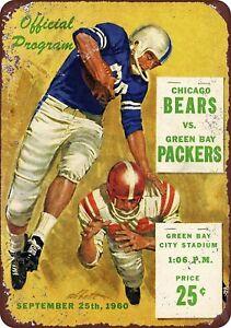 1960-Green-Bay-Packers-Chicago-Bears-Program-Rustic-Retro-Metal-Sign-8-034-x-12-034