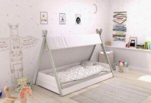 zeltbett kinderbett 90x200 jugendbett wei grau tipi zelt bett kinderzimmer ebay. Black Bedroom Furniture Sets. Home Design Ideas