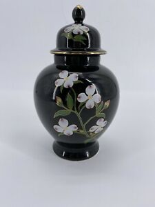 JAPANESE MIC PORCELAIN VASE Black With  LID MADE IN JAPAN Vintage