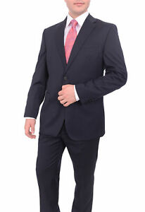 Mens-44R-Ital-Uomo-Classic-Fit-Solid-Navy-Blue-Two-Button-100-Wool-Men-039-s-2-P