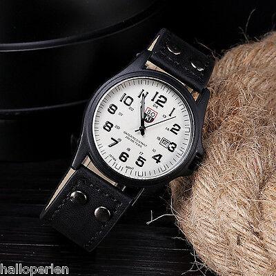 New Military Sports Quartz Wrist Watch Mens Fashion Faux Leather Date Watch