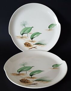 W-S-George-Half-Century-Fine-Dinnerware-Plates-Pine-Cone-Leaves-10-034-Set-of-Two