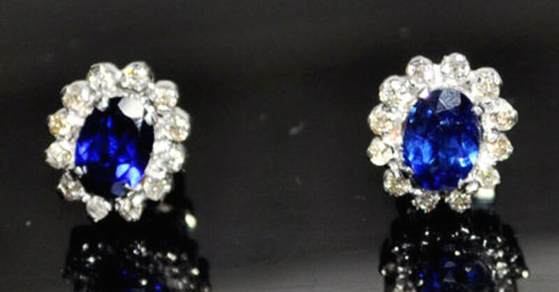 f4064926801e8 14k Sapphire blueee Diamond 0.48ct White Women's Earrings Wedding ...