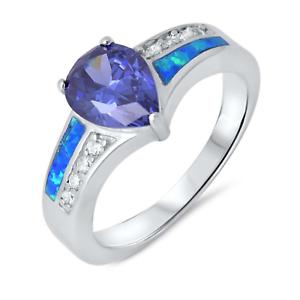 Azul-Tanzanita-Gota-Diamante-Sintetico-Azul-opalo-de-Fuego-Anillo-Plata-de-Ley