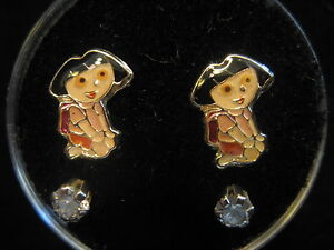 DORA THE EXPLORER Screw Back Child Character Earring with Stones in Silver